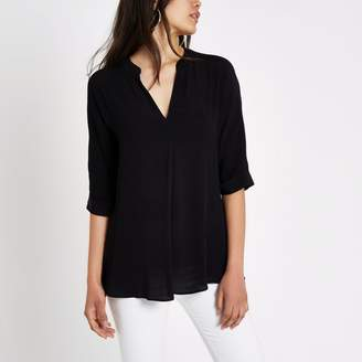 River Island Womens Black short sleeve twist back blouse