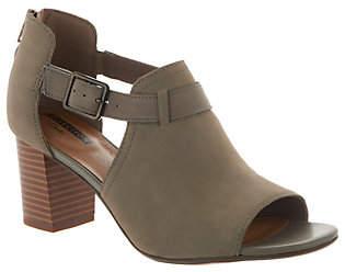 Clarks Leather Peep Toe Back Zip Booties -Deva Valeria