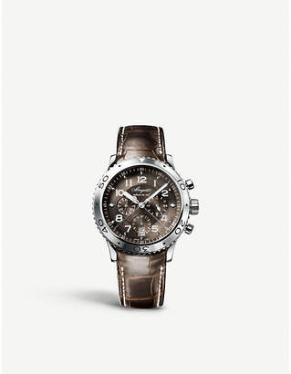 Breguet G3810ST929ZU Type XX stainless steel and leather strap watch