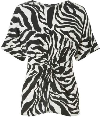 Dorothy Perkins Womens Black Zebra Print Knot Front Top