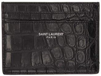 Saint Laurent Black Croc Card Holder