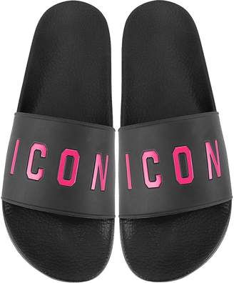 DSQUARED2 Black and Fuchsia Icon Women's Flip Flop Pool Sandals