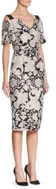 Roland Mouret Colorblock Cold-Shoulder Dress