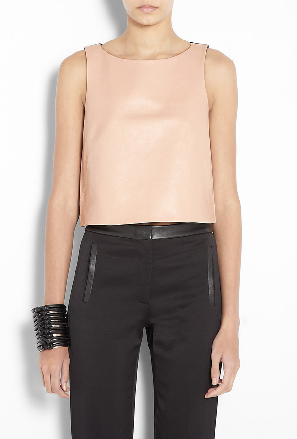 Tibi Blush Leather Front Cutaway Back Tank Top