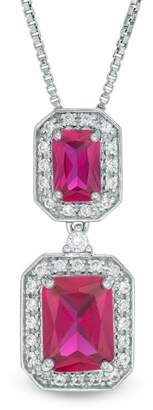 Zales Emerald-Cut Lab-Created Ruby and White Sapphire Octagonal Frame Double Drop Pendant in Sterling Silver