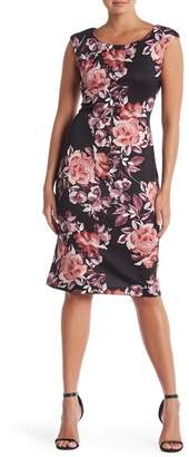 Connected Apparel Cap Sleeve Floral Print Dress