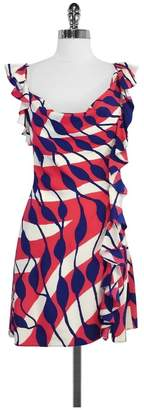 Ali Ro Pink & Navy Print Silk Cascading Ruffle Dress $78.99 thestylecure.com