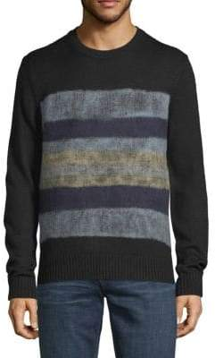 Saks Fifth Avenue BLACK Needle Punch Crewneck Sweater