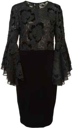 Badgley Mischka lace ruffle sleeve cocktail dress