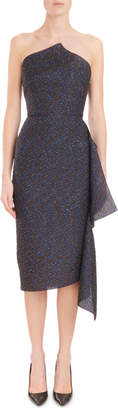 Roland Mouret Strapless Metallic-Jacquard Fitted Midi Cocktail Dress