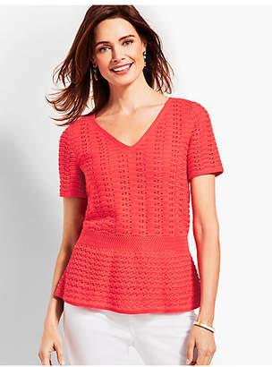 Talbots Double-V Crochet Peplum Sweater