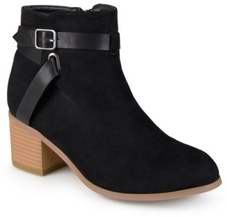 Brinley Co. Women's Two-tone Strappy Round Toe Booties