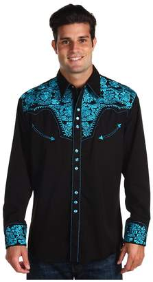 Scully Floral Tooled Shirt Men's Long Sleeve Button Up