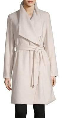 Dex Shawl Collar Wool-Blend Wrap Coat