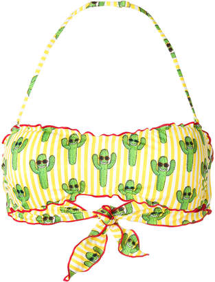 MC2 Saint Barth Cactus print bandeau bikini top