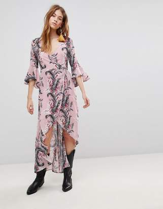 Glamorous Wrap Dress With Front Split In Palm Floral