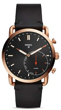 Fossil Commuter Black Leather Strap Hybrid Smartwatch, 42mm