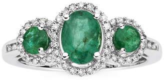 JCPenney FINE JEWELRY 1/6 CT. T.W. Diamond & Genuine Emerald 10K White Gold 3-Stone Ring