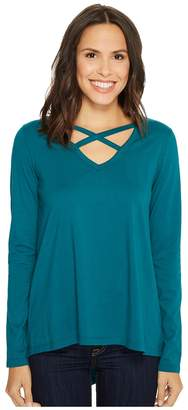 Mod-o-doc Deluxe Jersey Crisscross V-Neck Long Sleeve Tee Women's T Shirt