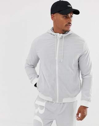 BOSS Zinc back logo track jacket in grey SUIT2