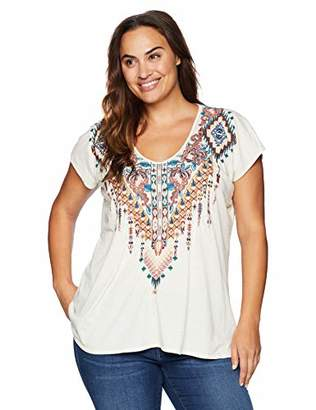Johnny Was JWLA By Women's Size Plus Embroidered Deep Scoop Jersey T-Shirt
