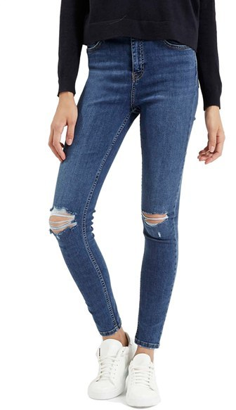 Topshop 'Jamie' Ripped High Rise Ankle Skinny Jeans