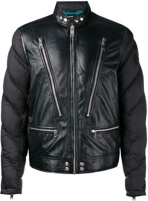 Diesel padded sleeve leather jacket