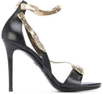 Roberto Cavalli snake motif stiletto sandals