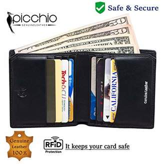 Picchio Men's Classic Range RFID Blocking Slim Wallet Front Pocket Minimalist Secure Thin Credit Card Case with Dollar Compartment
