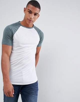Asos Design DESIGN longline t-shirt with curved hem and contrast raglan sleeves in linen mix in white