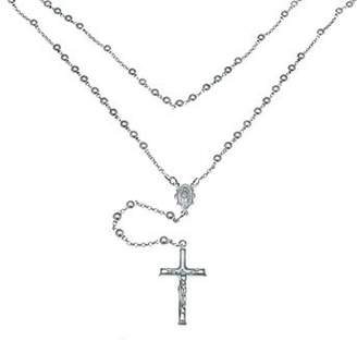 """Marquis Jewelry Unisex 925 Sterling Silver Rhodium Plated 5mm Bead Rosary 28"""" Necklace-28"""