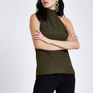 River Island Khaki halter neck sleeveless top