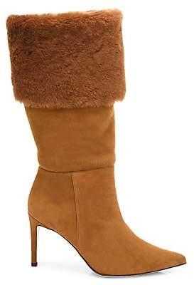 Alexandre Birman Women's Knee-High Shearling-Trimmed Suede Boots