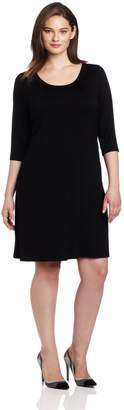 Karen Kane Plus-Size 3/4 Sleeve A-Line Dress