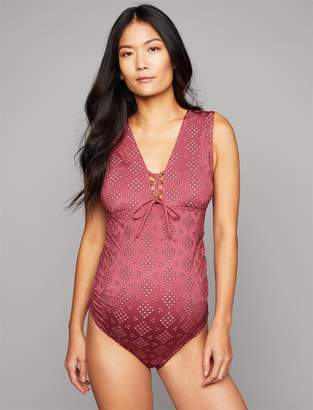 A Pea in the Pod Eyelet Lace Maternity One Piece Swimsuit
