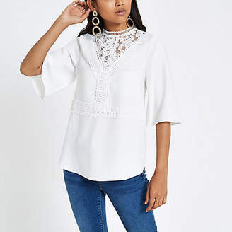 River Island Petite white lace insert high neck top