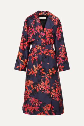 Dries Van Noten Floral-print Satin-twill Trench Coat - Purple