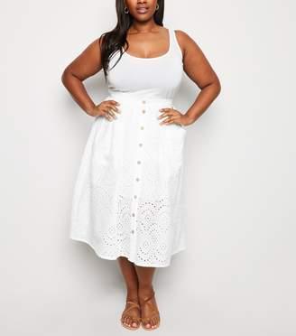 New Look Curves Broderie Midi Skirt