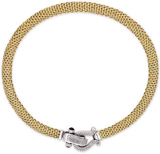 Macy's Diamond Horseshoe Clasp Mesh Necklace (5/8 ct. t.w.) in 14k Gold-Plated Sterling Silver