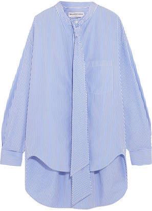 Balenciaga - Swing Printed Striped Cotton-poplin Shirt - Blue