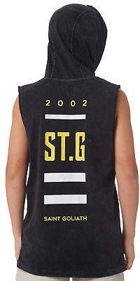 St Goliath New Boys Kids Boys Dipping Hooded Muscle Crew Neck Cotton Soft Black