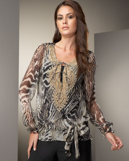NM Exclusive Beaded Silk Tunic