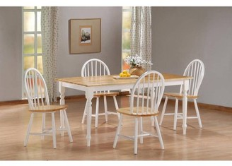 Boraam 5PC Farmhouse Dining Set, White/Natural