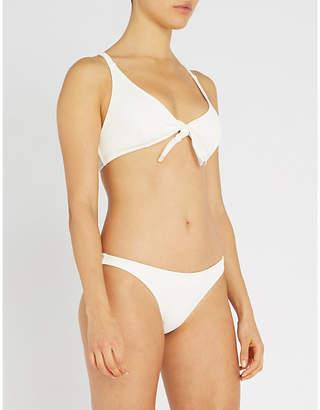 Solid & Striped Fiona tie-front ribbed triangle bikini top