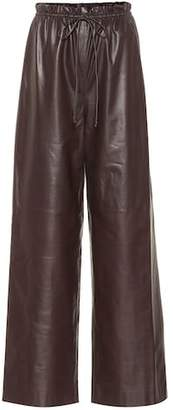 The Row Leather wide-leg pants
