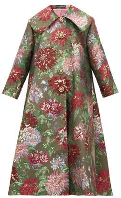 Dolce & Gabbana Crystal Applique Metallic Brocade Opera Coat - Womens - Red Multi