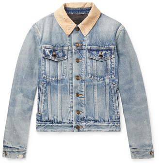Saint Laurent Distressed Corduroy-Trimmed Denim Jacket - Indigo