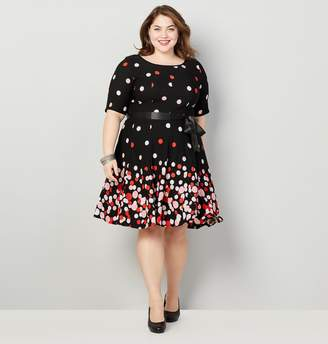 297f494ea1d Avenue Plus Size Floating Dot Fit And Flare Dress