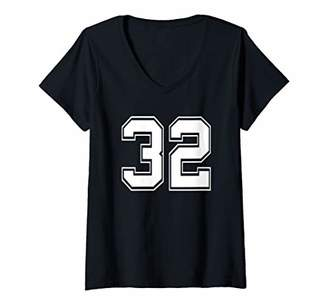 Womens Number 32 Shirt Baseball Football Soccer Fathers Day Gift V-Neck T-Shirt