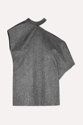 RtA Axel One-shoulder Cutout Metallic Jersey Top - Silver